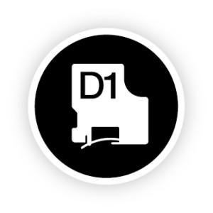 D1 Tape 12mm white on Black
